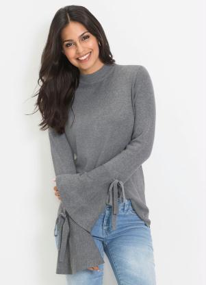 Suéter de Tricô com Mangas Sino (Cinza Mescla)