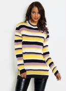 Suéter de Tricô Gola Alta Listrado Lilás