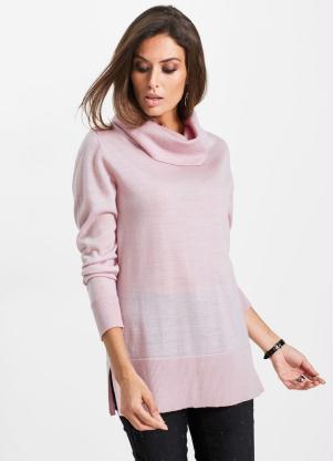 Suéter de Tricô Gola Alta (Rosa Claro)