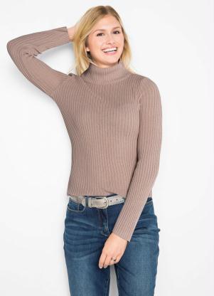Suéter de Tricô Gola Alta (Rosa)