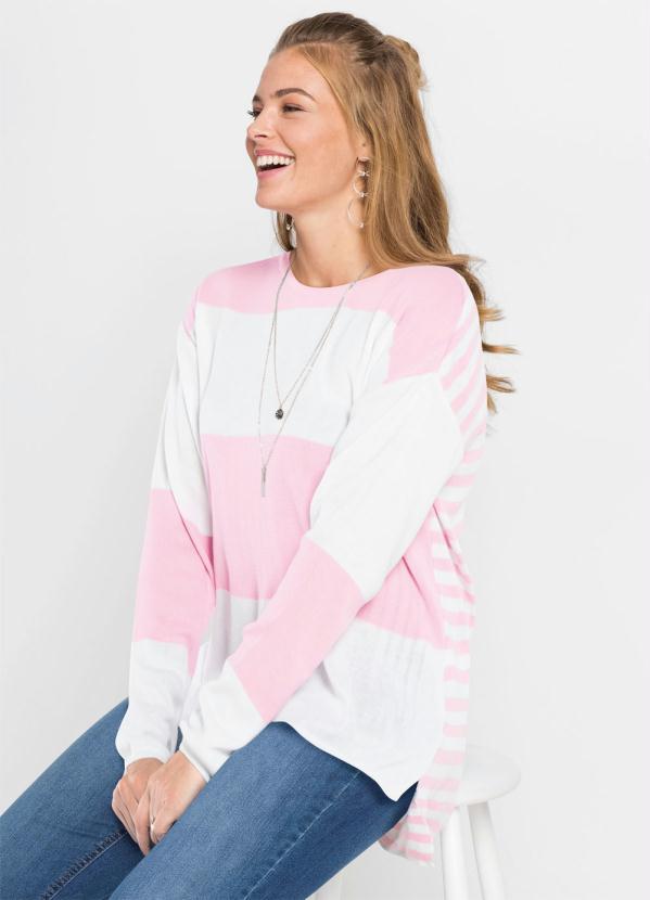 Suéter de Tricô Listrado (Rosa Claro)