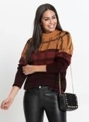 Suéter de Tricô Oversized Bordô