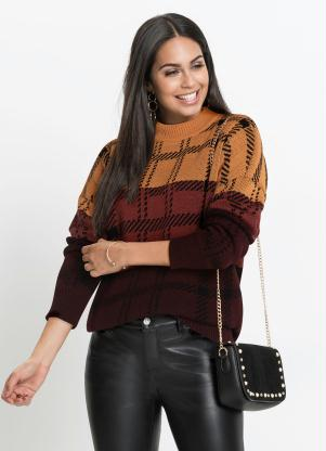 Suéter de Tricô Oversized (Bordô)