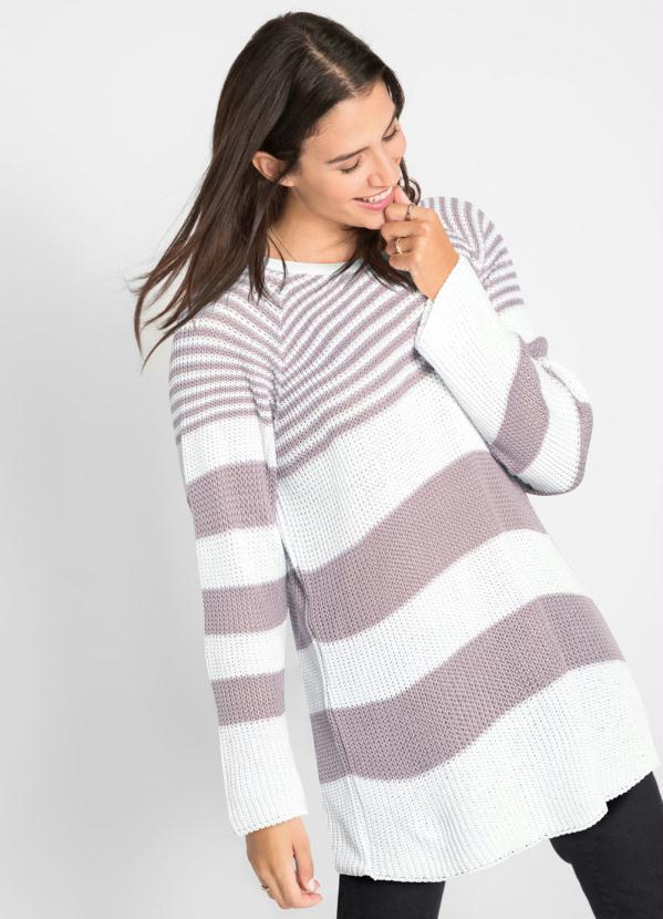 Suéter de Tricô Ponto Trabalhado (Listrado Lilás)
