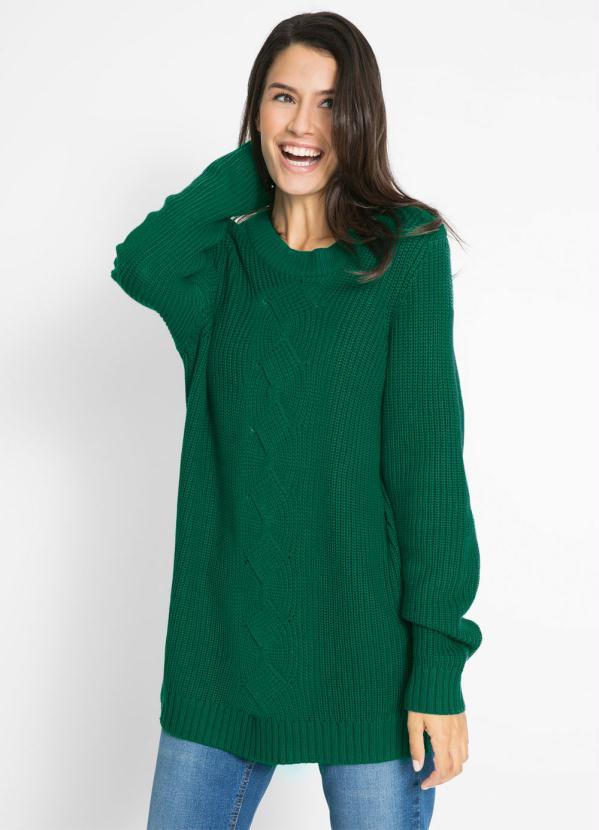 Suéter de Tricô Ponto Trabalhado (Verde Escuro)