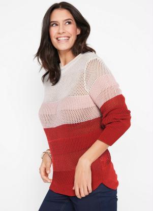 Suéter de Tricô Ponto Trabalhado (Vermelho)