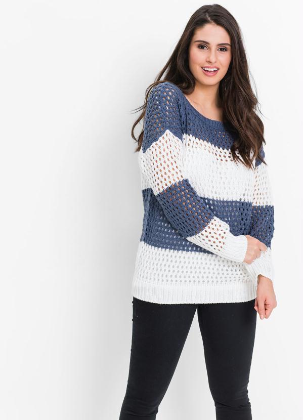 Suéter de Tricô Ponto Vazado (Azul)