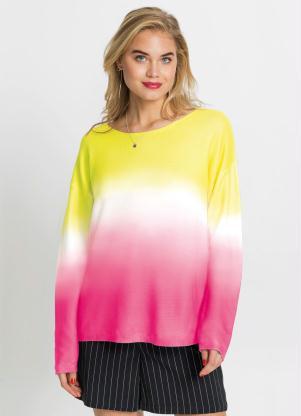 Suéter de Tricô (Tie Dye Rosa e Amarelo)