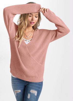 Suéter de Tricô Transpassado (Rosê)