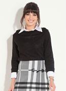 Suéter de Tricot Preto com Fendas nas Laterais
