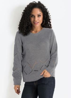 Suéter de Tricô Gola V (Cinza Mescla)