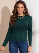 Suéter em Tricô Canelado Verde