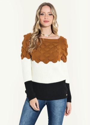Suéter em Tricô (Caramelo Off White Preto)