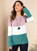 Suéter em Tricô Rosa Off White Verde