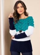 Suéter em Tricô Turquesa Off White Marinho