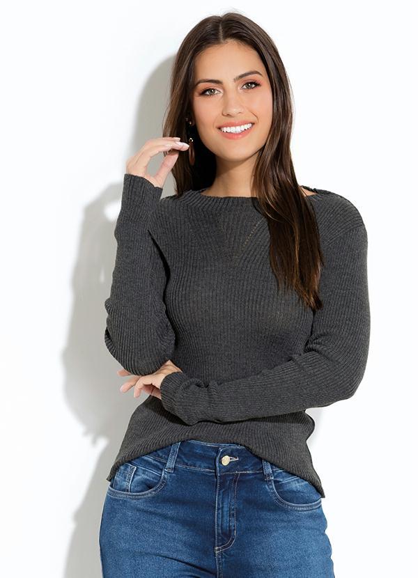 Suéter Quintess em Tricot Canelado (Mescla)