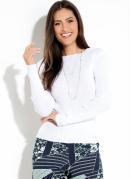Suéter Quintess em Tricot Canelado Off White