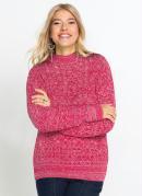 Suéter Tricô Ponto Trabalhado Rosa Pink Mescla