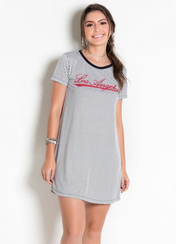 T-Shirt Dress (Listrado) com Estampa Frontal