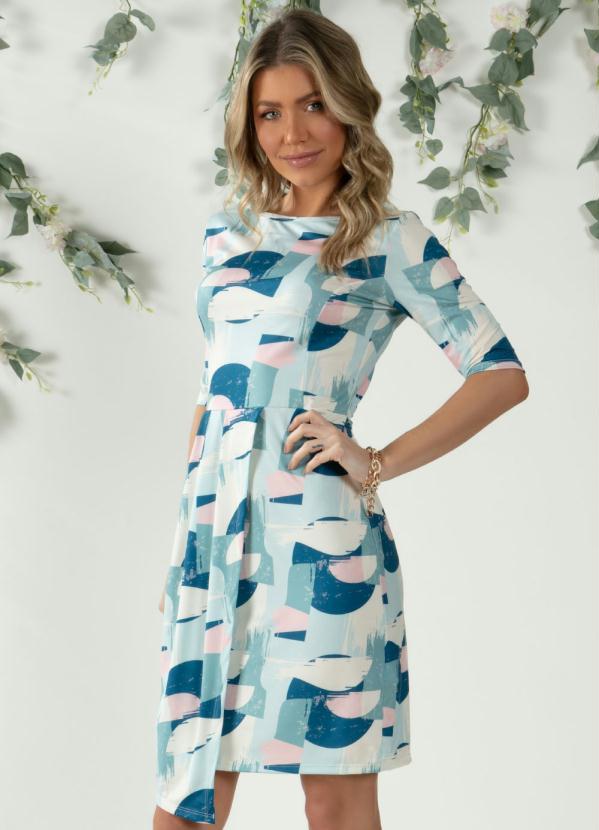 Vestido (Abstrato Azul) com Transpasse Drapeado