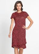 Vestido com Babados Animal Print Onça Vermelho