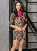 Vestido Animal Print com Gola Pink