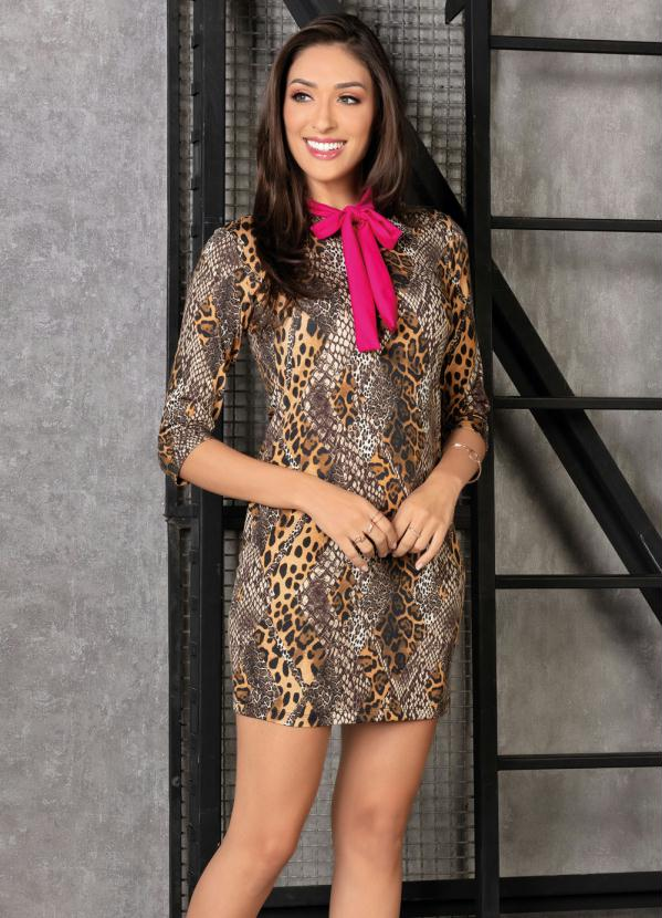 Vestido (Animal Print) com Gola Pink