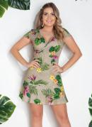 Vestido Areia e Floral com Transpasse
