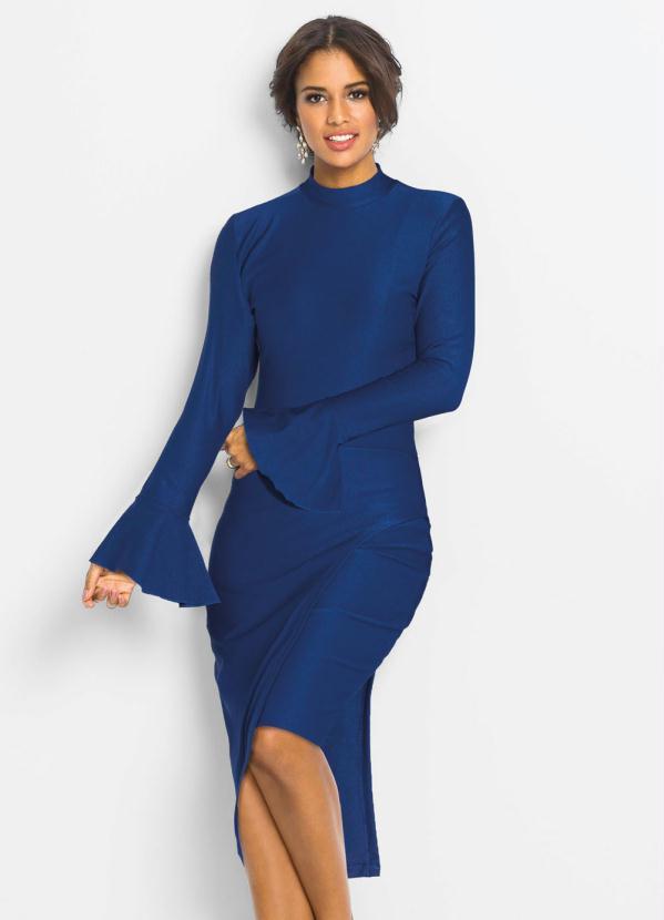 Vestido Assimétrico com Babados (Azul Royal)