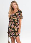 Vestido Básico com Decote V Floral/Preto