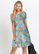 Vestido Básico Soltinho Floral Azul