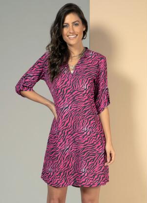 Vestido Camisa (Tigre Pink) Soltinho