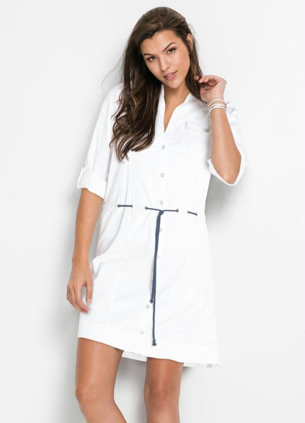 Vestido Chemise de Sarja (Branco)