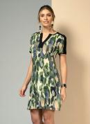 Vestido Clássico Animal Print Verde com Recortes