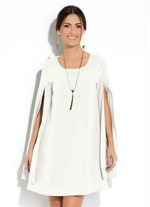 Vestido Clássico (Branco) Manga Capa Ampla