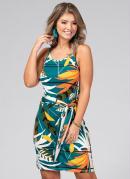 Vestido Clássico com Amarração Tropical Verde