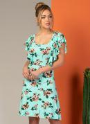 Vestido Clássico com Babado Floral Verde