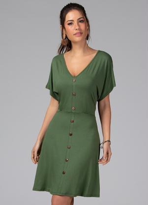 Vestido Clássico com Botões Decorativos (Verde)