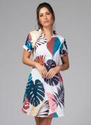 Vestido Clássico com Decote em V Tropical Azul