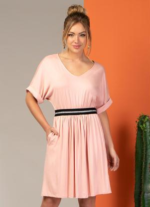 Vestido Clássico com Elástico na Cintura (Rosa)