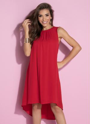 Vestido Clássico com Pregas no Decote (Vermelho)