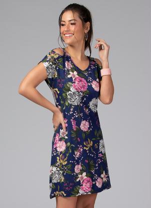 Vestido Clássico com Recorte Vazado (Floral Azul)