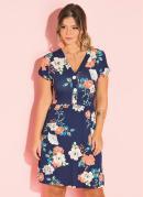 Vestido Clássico Floral Azul com Botões