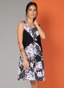 Vestido Clássico Floral Preto com Recorte