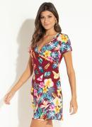 Vestido Clássico Floral Recorte Central