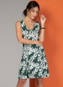 Vestido Clássico Floral Verde Com Recorte Frontal