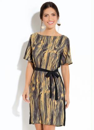 Vestido Clássico (Marmorizado Preto) com Amarração