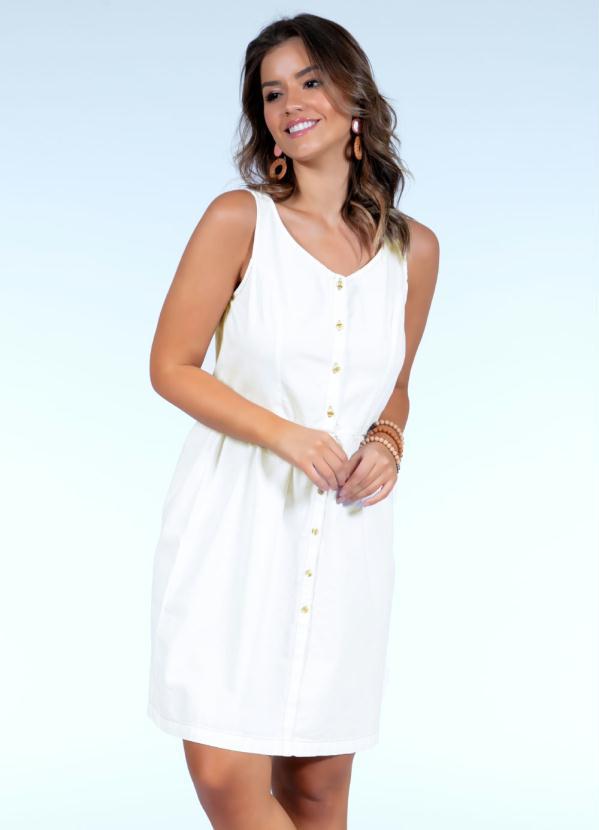 Vestido Clássico (Off White) com Botões