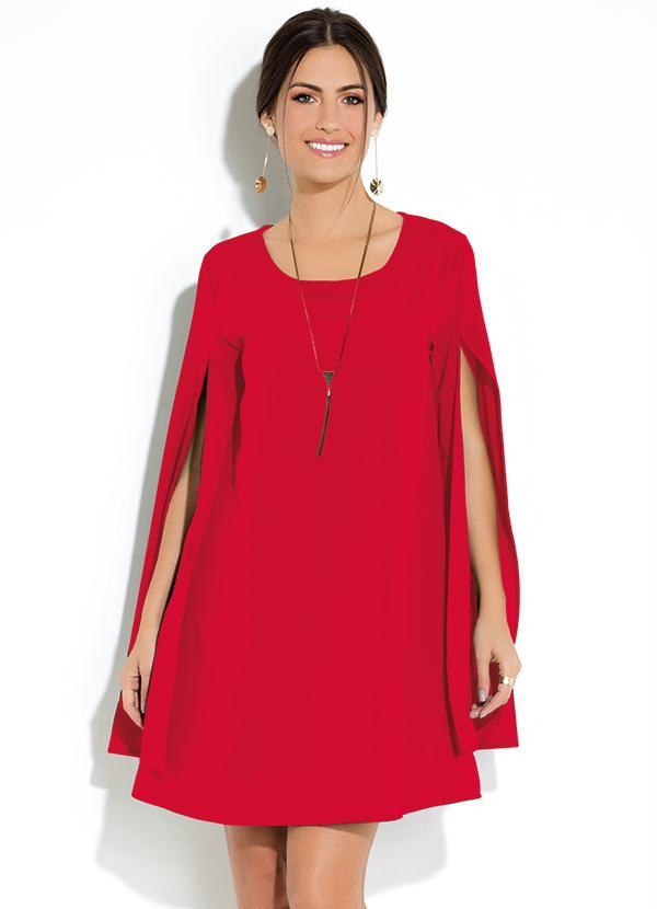 Vestido Clássico (Vermelho) Manga Capa Ampla