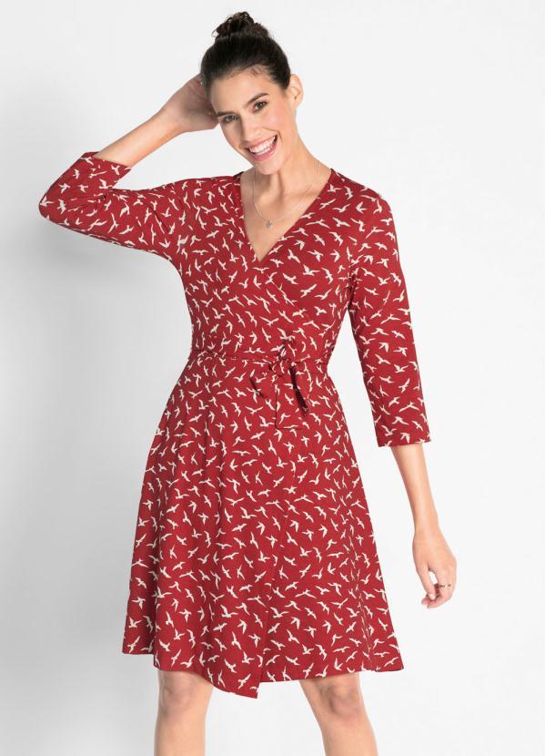 Vestido com Amarração (Estampado Vermelho)